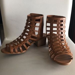 Strappy brown open toed heel